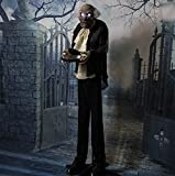 Haunted Hill Farm HHMAN-1FLSA Life-Size Animated Moaning Butler Prop Holding Silver Tray, Battery-Operated Indoor/Outdoor Halloween Decoration, Color 7