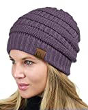 C.C Unisex Chunky Soft Stretch Cable Knit Warm Fuzzy Lined Skully Beanie, Violet