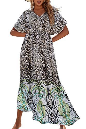 LikeJump Bohemia Vestido de Playa Secado Rápido Maxi Kaftan Kimono Pareos Cover Ups para Mujer