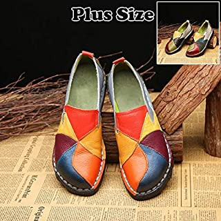 Women's Leather Flat Shoes Patchwork Female's Slip on Casual Comfortable Loafers Driving Shoes Plus Size 35-42(Orange,36EU(5US))