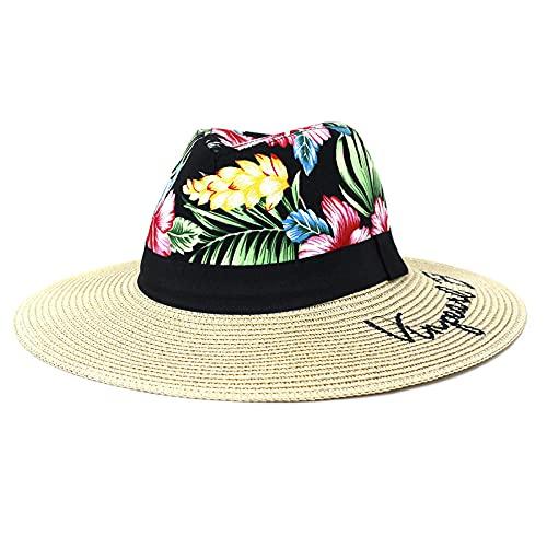 YDXC Sombreros de ala Ancha para Mujeres Protección Solar Estampado Playa de Paja y Bordados al Aire Libre con Estilo para Mujeres 8Cm -Beige_56-58Cm