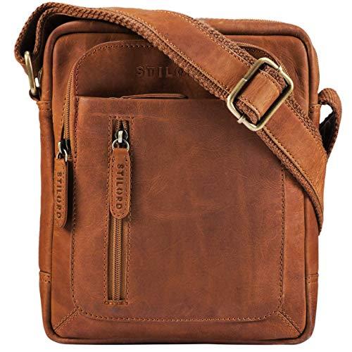 STILORD 'Jamie' Borsa uomo a tracolla piccola in pelle Borsello Messeger in cuoio per Tablet 9,7 pollici stile vintage di qualità, Colore:girona - marrone