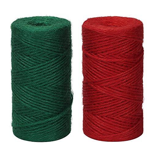 Tenn Well Cuerda de yute rojo y verde, cuerda de cáñamo na