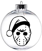 Merch Massacre Jason Vorhees Friday The 13th Santa Hat Nightmare Before Christmas Ornament Glass Disc Holiday Horror