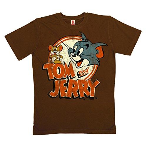 Logoshirt Tom y Jerry Logotipo Camiseta 100% algodón ecológico (Cultivo ecológico) - Marrón, Talla XL