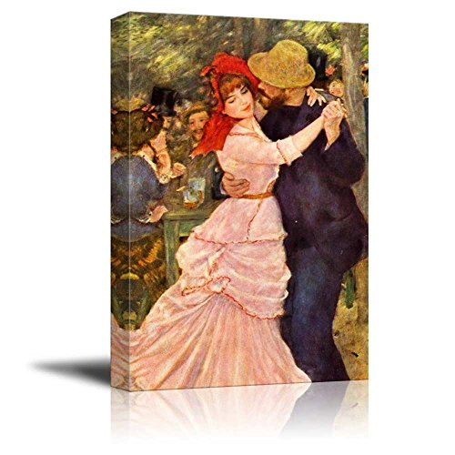 Dance at Bougival by Pierre Auguste Renoir Famous Fine Art Reproduction World Famous Painting Replica on ped Print Wood Framed - Canvas Art Wall Art - 16' x 24'