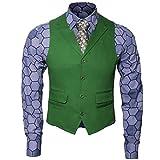Nofonda Herren Joker Kostüm Hemd Weste Krawatte Anzug Outfit Set Ritter Gangster Verkleidung Halloween Cosplay Accessories für Erwachsene (L, 3-tlg.Set)