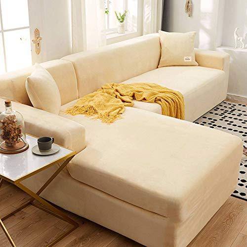 Bove Terciopelo Funda De Sofá, Forma De L con Cubierta para Sofá No-Resbalón Protector De Muebles con Fondo Elástico Lavable Funda De Sofá para Sala De Estar-90-140cm-C