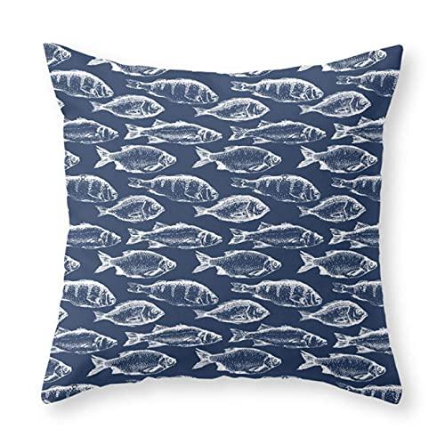 Federa per cuscino, motivo: pesce, colore: blu navy, per decorare il divano, la casa, 45,7 x 45,7 cm
