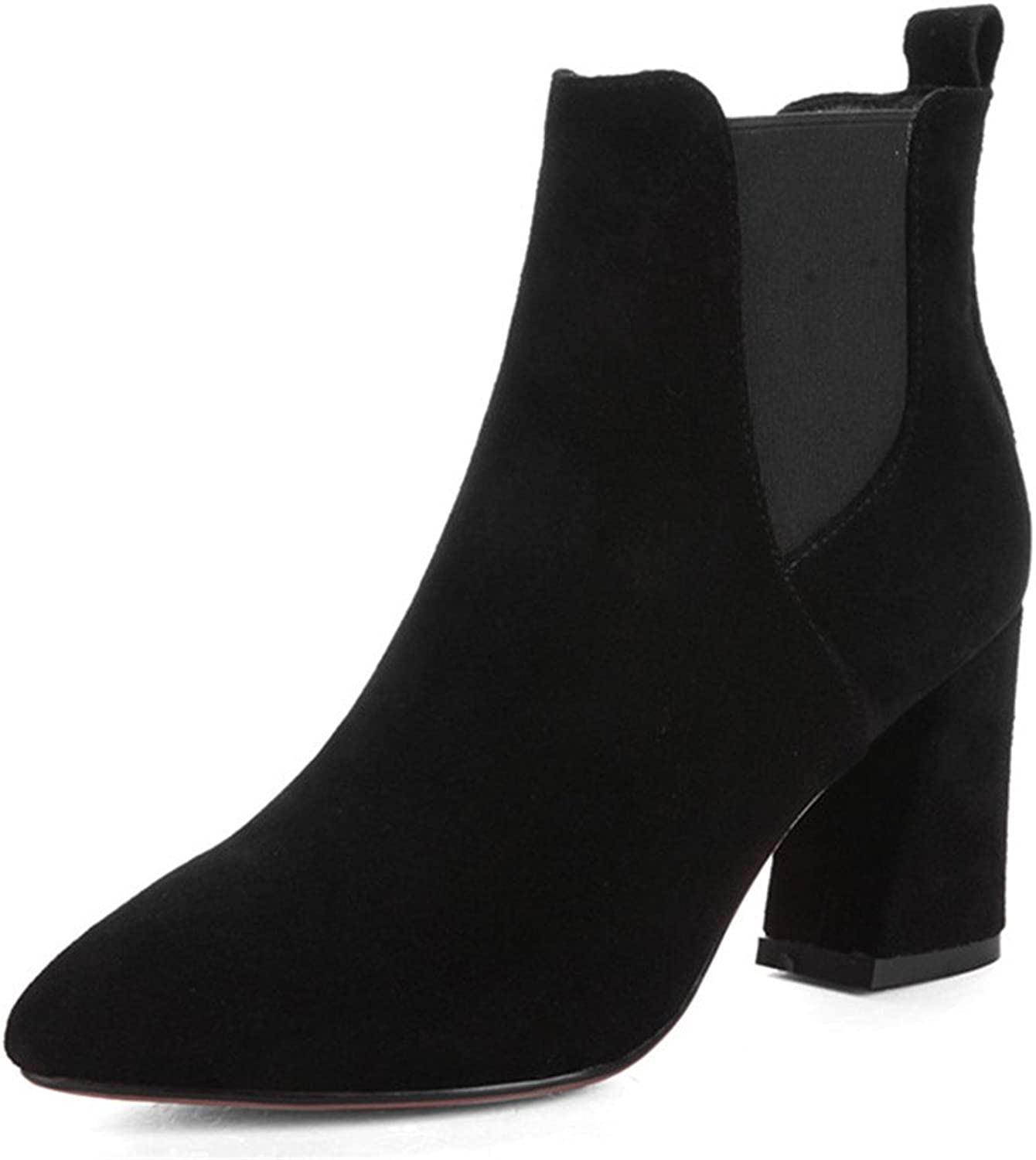 Nine Seven Suede Leather Women's Pointed Toe Chunky Heel Basic Handmade Elegant Black Ankle Boots