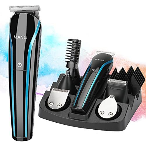 MANLI Baardtrimmer tondeuse voor mannen, tondeuse draadloze kapselkit voor mannen kinderen volwassenen, inclusief neustrimmer, zelfslijpende messen, USB body trimmer oplaadbaar nat en droog