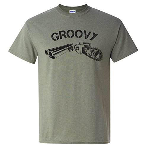 Groovy - Undead Zombie Hunting Chainsaw Shotgun Boomstick T-Shirt - Medium - Heather Military