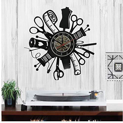 DJKAA speciale aanbieding 1 stuks naaimachine quilting tools wandklok vinyl record tailor naaien signn modern muur hangend decoratie (12 inch)