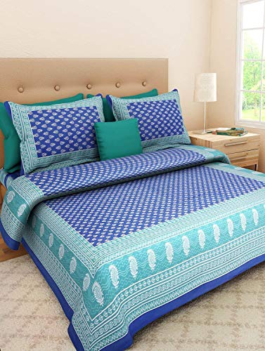 JAIPUR PRINTS Cotton Comfort Rajasthani Jaipuri Traditional King Size 1 Double Bedsheets...