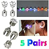 AYAMAYA 5 Pairs Changing Colour Christmas Light Up LED Earrings Studs Flashing Blinking Earrings Dance Party Accessories unisex for Men Women