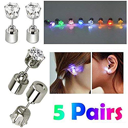 ayamaya 5 Pairs Changing Color Light Up LED Earrings Studs Flashing Blinking Earrings Dance Party Accessories Valentines Day Decoration Gifts for Men Women Wife Girlfriend Friend Boyfriend Husband