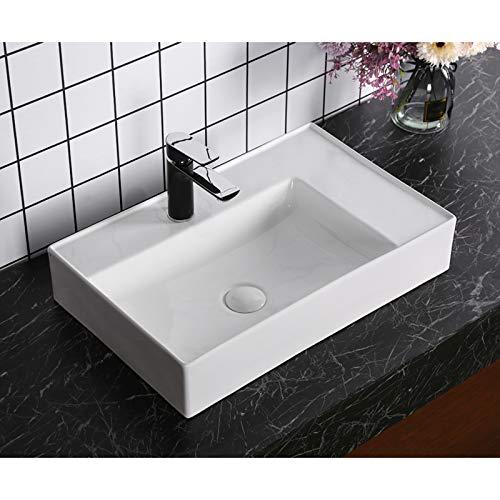 Waschbecken Design Aufsatzwaschbecken Handwaschbecken Eckig 605 * 380 * 120mm Hochglanz, keine Wandmontage (Leo) von Art-of-Baan®