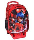 Zaino Trolley LADYBUG Scuola Elementare Bambina con Trolley Staccabile Zaino Miraculous con Carrello e Ruote