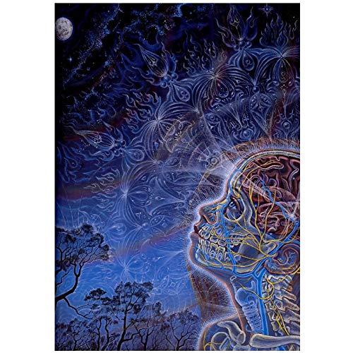 Luna Alex Grey Psicodélico Trippy Pintura decorativa Sala de estar Arte de la pared Carteles Impresiones en lienzo Decoración del hogar -60x80cm Sin marco