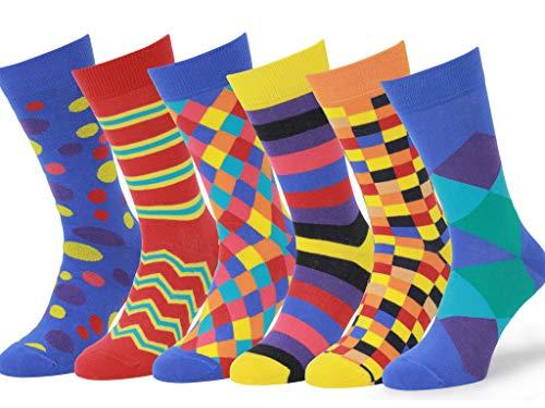 Easton Marlowe 6 Paar Bunt Gemusterte Herren Socken - 6pk 4, gemischt - helle Farben, 43-46 EU Schuhgröße