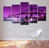 KOPASD 5 Piezas Pintura De Pared Sala De Estar De Arte Manhattan Bridge Purple Cielos HD Print De Decoración para El Hogar para (Enmarcado Tamaño 150x80cm)