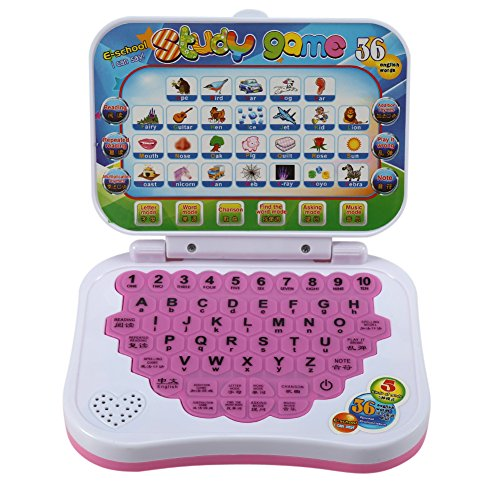 Dilwe Baby Laptop Spielzeug, Kinder zweisprachige pädagogische Lernstudie Spielzeug Laptop Computer Spiel Geschenk für Kinder