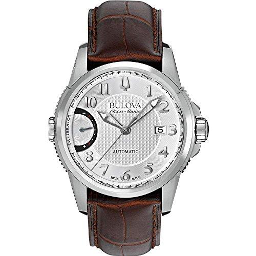 Bulova Accu Swiss 63B171 Mens Accu Swiss Brown Leather Strap Watch