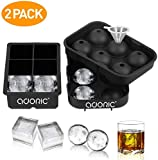 Ice Cube Trays, Adoric Sphere Ice Cube Molds Set of 2, Silicone Ice Ball Maker with Lid & Large Square Molds for Whiskey and Cocktails or Homemade, Black (Medium, Dark Black)