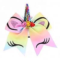 BAIHUAXIN 蝶結びの伸縮性のあるヘッドバンド、スパンコールユニコーンヘアタイ、女の子、子供、子供に適しています