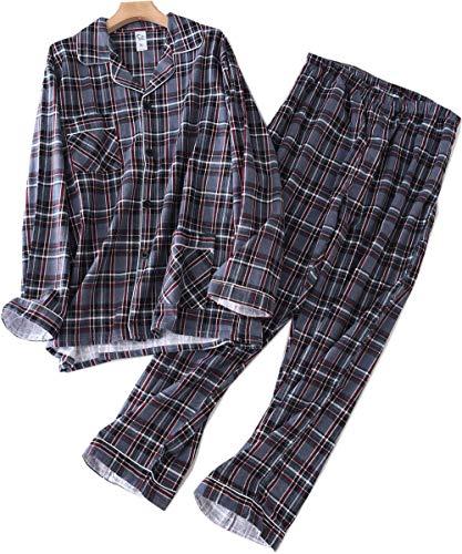 WPHDTZ Mens Flannel Pajamas Set 100% Cotton Loungewear Long Sleeve Sleepwear MZ02-Style 5-XL