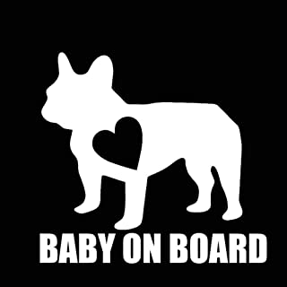 YTYTOO Baby On Board Car Vinyl Decal Sticker Bulldog Funny Cute Animal,Motorcycle Laptop Window Decor Car Sticker 12.7X11.7Cm 2 Pcs-Silver White