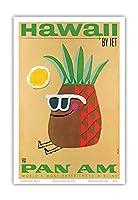 ジェットによってハワイ - 氏パイナップルヘッド - パンアメリカン航空 - ビンテージなハワイの旅行のポスター によって作成された フィリップス - アートポスター - 23cm x 31cm