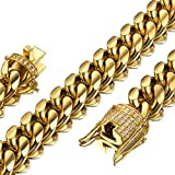 Jxlepe Mens Miami Cuban Link Chain 18K Gold 15mm Stainless Steel Curb Necklace with cz Diamond Chain Choker (24, Necklace)