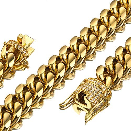 Mens Miami Cuban Link Chain 18K Gold 15mm Stainless Steel Curb Necklace with cz Diamond Chain Choker (20, Necklace)