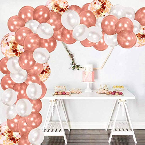 Lamuk 138pcs Balloon Arch & Garland Kit Pack Of Confetti, Rose Gold and White Latex Balloons with Knot Tying Tool, Wall Hooks, Ribbon, Glue Dot And Strip Tape, Suitable Decorations For Any Occasions