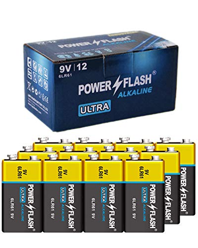 POWER FLASH 9V Batteries with Fresh Date - 12 Industrial Pack - Ultra Long Lasting All Purpose 9 Volt Battery
