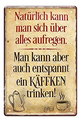 Vintage Retro Kaffee Blechschild - lustiges Metallschild mit witzigen Spruch für Kaffeegenießer - Wanddeko Küche Kaffeebar Esszimmer Büro Arbeit - Geschenk Kaffee-Junkies Kaffeesüchtige - 20x30cm