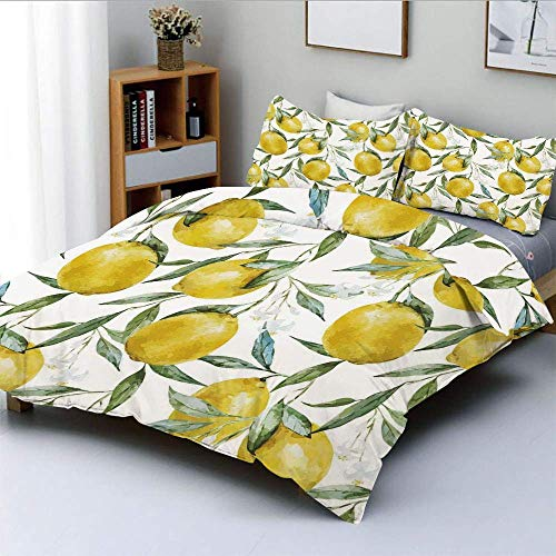 Yoyon Duvet Cover Set,Vibrant Citrus Branch with Blooms Delicious Plant Garden Watercolor PrintDecorative 3 Piece Bedding Set with 2 Pillow Sham,Olive Green Yellow,Best Gift For Kids