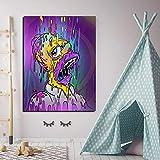 Lienzos Pintura al óle Cuadro en lienzo, artista famoso Lisa Simpson, Color, ja, ja, boca, póster e impresiones en la pared, imágenes artísticas para el dormitorio de los niños 50x75cm