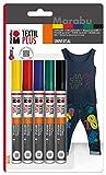 Marabu 0118000000080 - Textil Painter plus, Set Stoffmalstifte für helle und dunkle Stoffe, auf Wasserbasis, Universalspitze mit Strichstärke ca. 3 mm, 5 Stifte in gelb, rot, grün, blau und schwarz