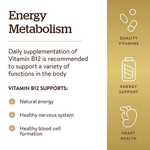 Solgar Vitamin B12 100 mcg, 100 Tablets - Energy Metabolism, Heart Health, Healthy Nervous System - Non-GMO, Vegan, Gluten Free, Dairy Free, Kosher, Halal - 100 Servings