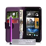 Yousave Accessories PU Leather Wallet Cover and Stylus Pen for HTC One - Purple