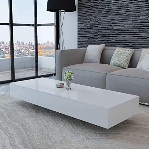 Festnight Modern High Gloss White Rectangle Coffee Table Room Furniture for Home Living Room Office,115 x 55 x 31cm
