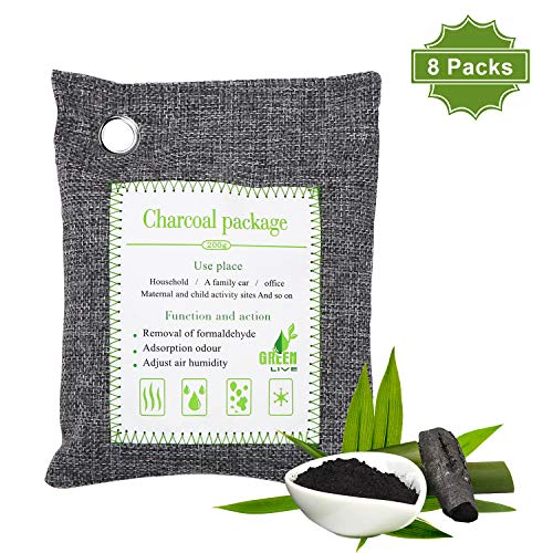 ENIBON Bamboo Charcoal Air Purifying Bag 8 Packs, 200g Activated Charcoal Odor Absorber with Hooks for Easy Hanging Charcole Air Freshener Bags for Home, Car and Pets to Eliminate Odors