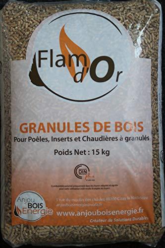 FLAM D'OR Granulés de bois pour poêles,inserts et chaudières Sac de 15Kg