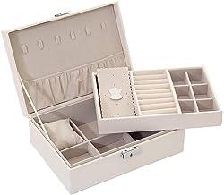GPWDSN Multifunctionele houten dubbellaagse sieradendoos met slot, eenvoudige en modieuze twee kleuren om uit te kiezen (B...