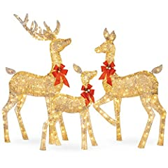 3-PIECE SET: Light up your front yard and celebrate the winter months with a glowing deer family consisting of a buck, doe, and fawn 360 LED LIGHTS: Reindeer light up the night with 360 environmentally friendly warm, white lights that remain cool to ...