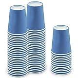 60 Piezas Vasos de Papel Azul Tazas de Fiesta Desechables Vasos Carton de Biodegradables y Compostables para Fiestas, Suministros de Cumpleaños, Bricolaje,Café - 250ml