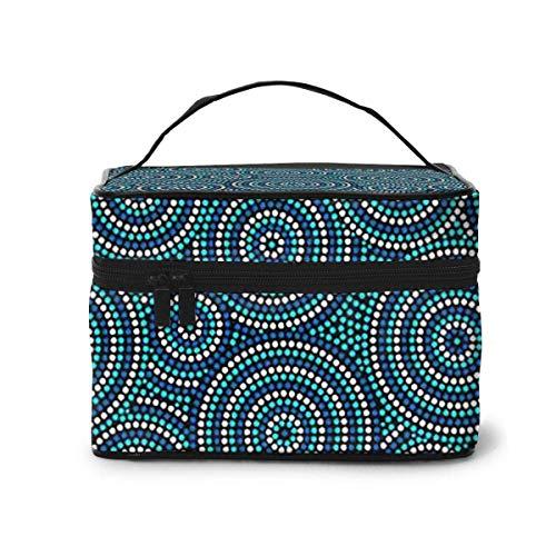 Makeup Bag Australian Aboriginal Dot Art Circles Portable Travel Cosmetic Bag Organizer Multifunction Case with Double Zipper Toiletry Bag for Woman (9'x6.2'x6.5')