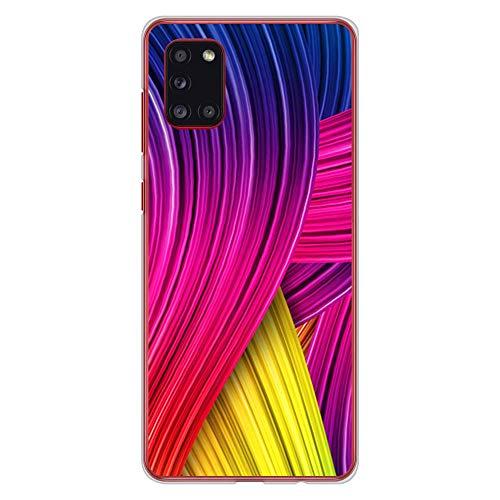 BJJ SHOP Transparent Hülle für [ Samsung Galaxy A31 ], Klar Flexible Silikonhülle, Design: Abstrakter bunter Hintergrund, farbige Spuren